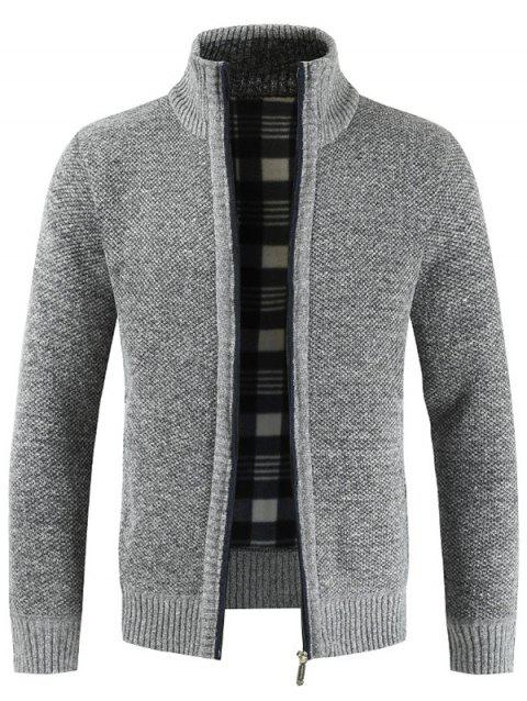 Stylish Stand Collar Sweater with Zipper for Men - LIGHT GRAY L