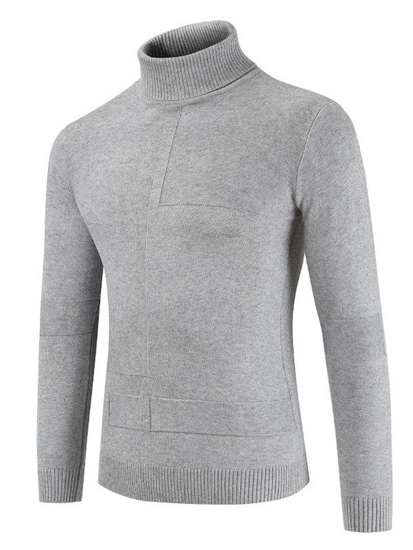 Solid Color Turn-down Collar Leisure Sweaters - LIGHT GRAY 3XL