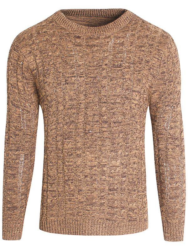 All-match Slim Pull col rond en tricot pour hommes - Pêche M