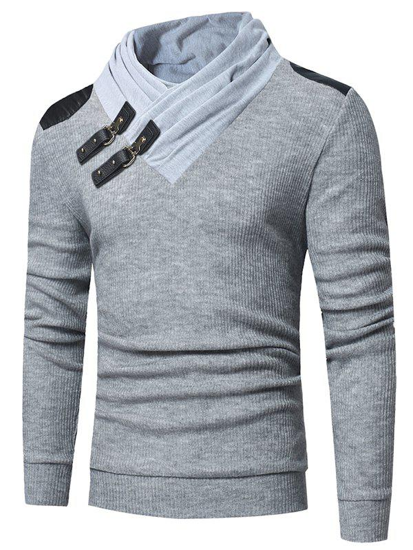 Stylish Pullover Slim Knitwear Sweater for Men - LIGHT GRAY 2XL