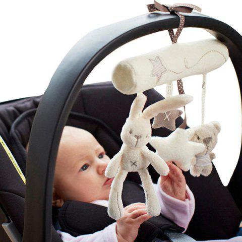Rabbit Baby Bed Hanging Hand Bell Plush Toy for Stroller - CRYSTAL CREAM