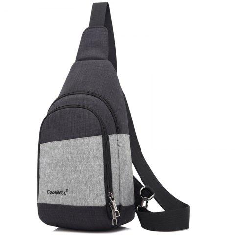CoolBell Men's Fashion Outdoor Nylon Chest Bag - GRAY