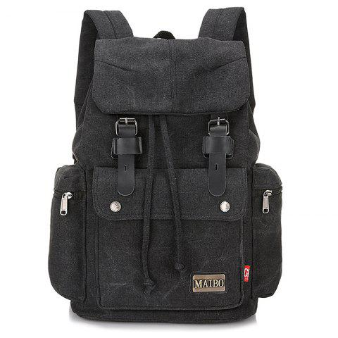 Durable Outdoor Canvas Backpack - BLACK