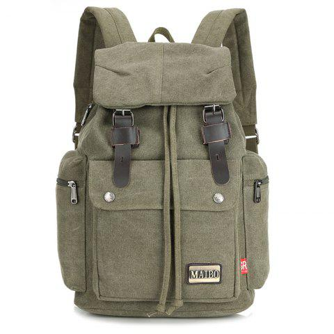 Durable Outdoor Canvas Backpack - GRAYISH TURQUOISE