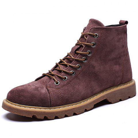 Men's Comfortable High-top Plus Size Boots - RED WINE EU 46