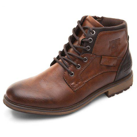 XPER Comfortable Lace-up Classic High-top Boots for Men - BROWN EU 44