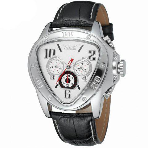 Jaragar W090604 Automatic Mechanical Watch with Leather Band - WHITE