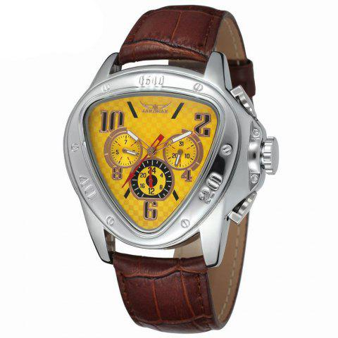 Jaragar W090604 Automatic Mechanical Watch with Leather Band - YELLOW