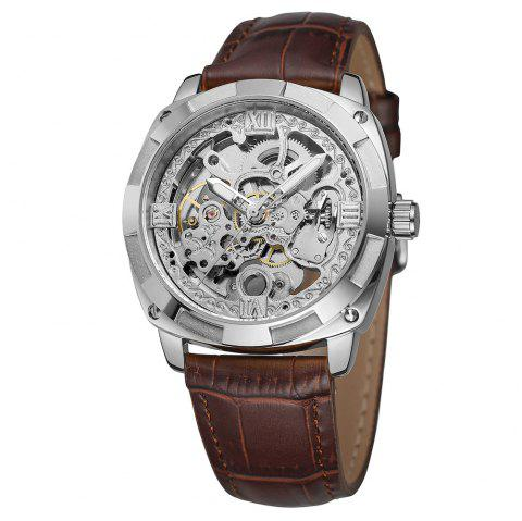 Forsining FSG8157 Hollow-out Mechanical Automatic Watch for Men - WHITE SILVER DIAL SILVER CASE BROWN BAND