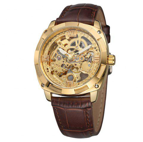 Forsining FSG8157 Hollow-out Mechanical Automatic Watch for Men - DEEP BROWN GOLDEN DIAL GOLDEN CASE BROWN BAND