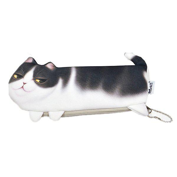 Cat Pencil Case Makeup Kits Bags Office Supplies Kids Stationery Pen Cosmetics Pouch Black