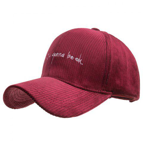 Embroidery Design Polyester Baseball Cap - RED WINE