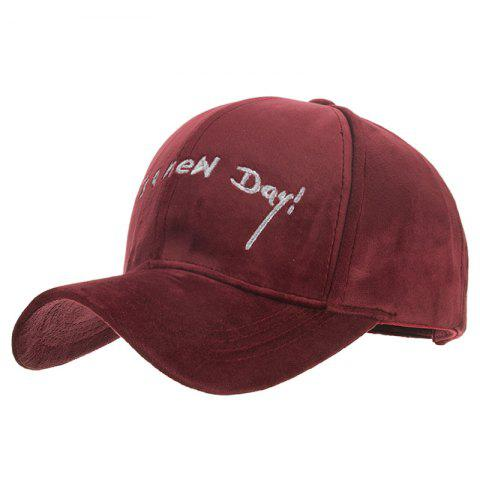 Fashion Embroidery Design Polyester Baseball Cap - RED WINE
