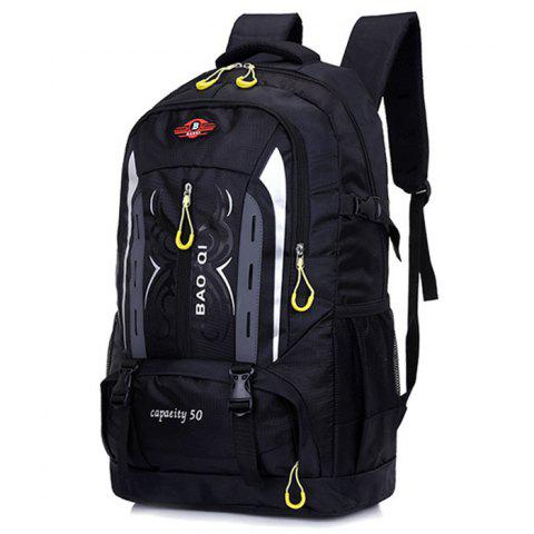 Outdoor Water-resistant Large Capacity Nylon Travel Sports Backpack - BLACK