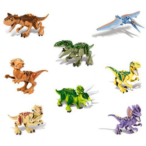 Lovely and Lifelike 8 in 1 Dinosaur Block Toys for Children - multicolor A