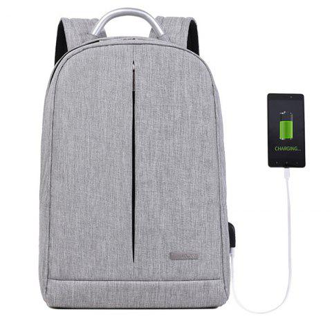 Leisure Outdoor Solid Color Backpack with USB Port - DARK GRAY B