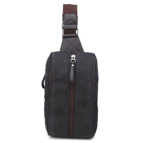 liyongyi Men's Fashion Sports Solid Color Canvas Chest Bag - BLACK