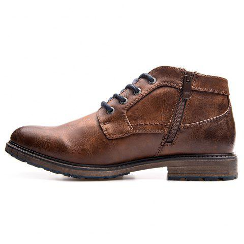 XPER Trendy British Style Anti-slip Cotton-padded Lace-up Boots for Men - BROWN EU 48