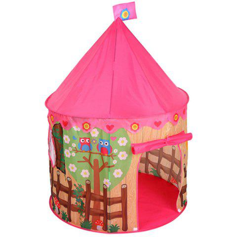Creative Children Spire Game Tent Castle Playhouse Toy with Flower Bird Pattern - ROSE RED