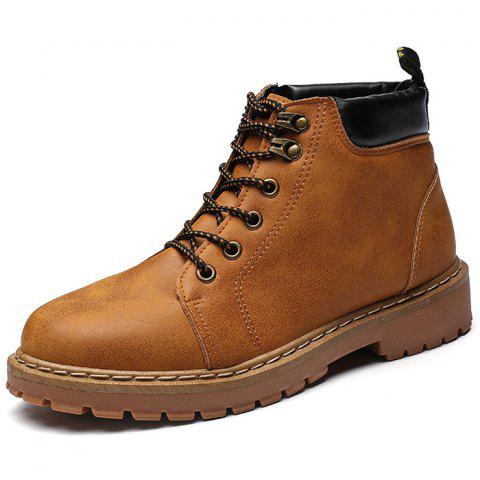 Casual Fashion PU Martin Boots for Men - CARAMEL EU 43