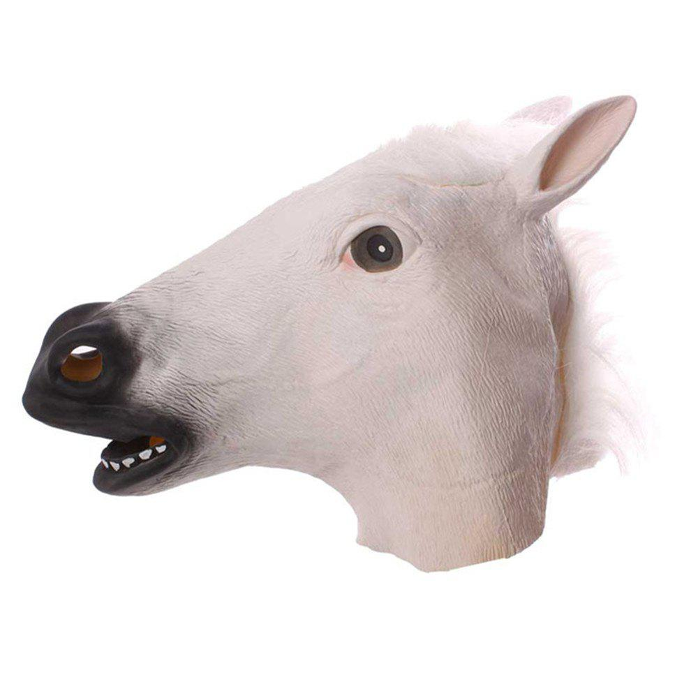 Horse Head Mask Halloween Animal Costume Theater Prop Adult Party Supplies - WHITE