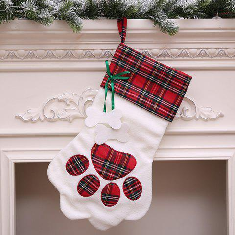 Christmas Sock-shaped Gift Bag with Dog Paw Print Pattern - VALENTINE RED