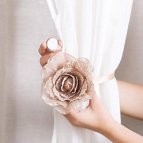 Flower Shape Magnetic Tieback Holdback for Voile Net Curtain DIY Accessory Tie String - APRICOT