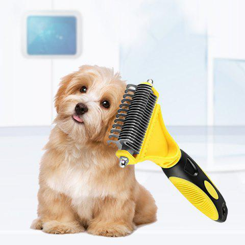 Pet Double-sided Open Comb Hair Removal Grooming Tool - YELLOW