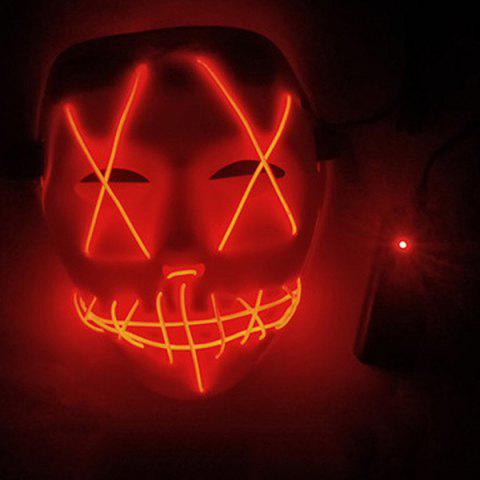 LED Scary Face Seam Eye Mouth Fork Lighting Halloween Carnival Mask - RED