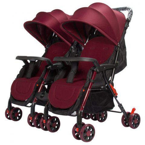 GIFT Detachable Four-wheeled Twin Baby Stroller Foldable Trolley - RED WINE