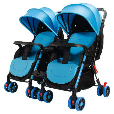 GIFT Detachable Four-wheeled Twin Baby Stroller Foldable Trolley - DEEP SKY BLUE