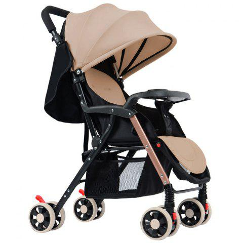 GIFT Detachable Four-wheeled Twin Baby Stroller Foldable Trolley - APRICOT
