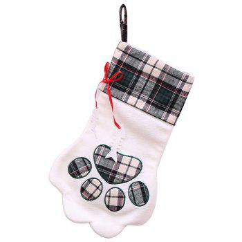 Christmas Sock-shaped Gift Bag with Dog Paw Print Pattern - CARBON GRAY