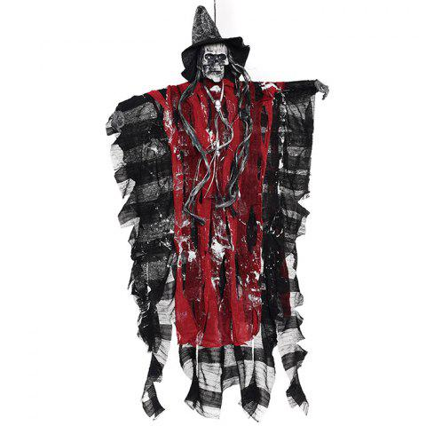 Halloween Electric Sound Control Hanging Skull Ghost Toy Horror Haunted House Decoration - LAVA RED
