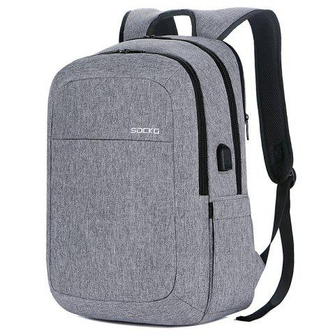 SOCKO Large Capacity Storage Travel Backpack with USB Charging Port - GRAY