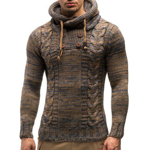 5d11afe6d Stylish Personality Twist Double-breasted Hooded Knit Sweater - BROWN M