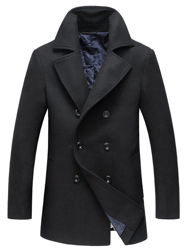 Stylish Double-breasted Wool Coat for Men - BLACK M