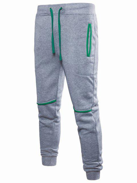 Stylish Solid Color Drawstring Sports Pants - LIGHT GRAY XL