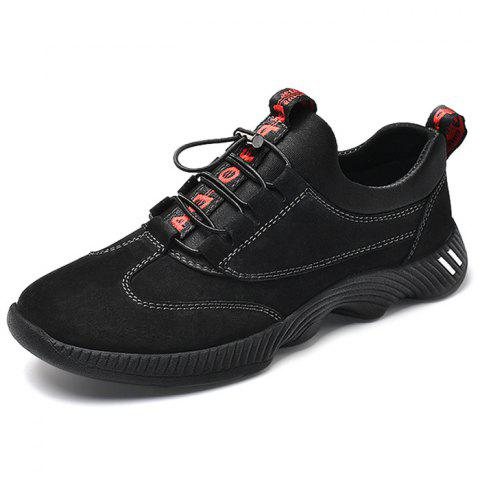 PU Leather Casual Sports Shoes - BLACK EU 45