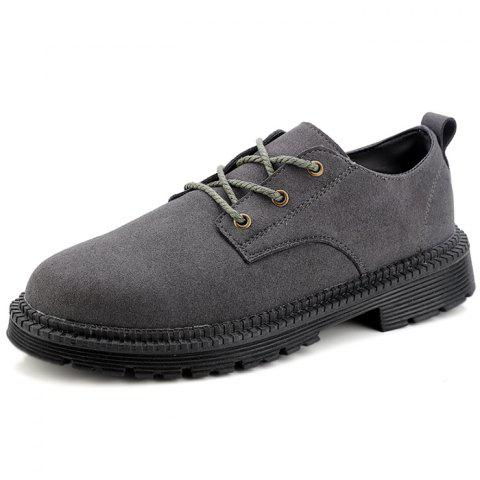 Stylish Lace-up Wear-resistant Casual Shoes for Men - GRAY EU 46