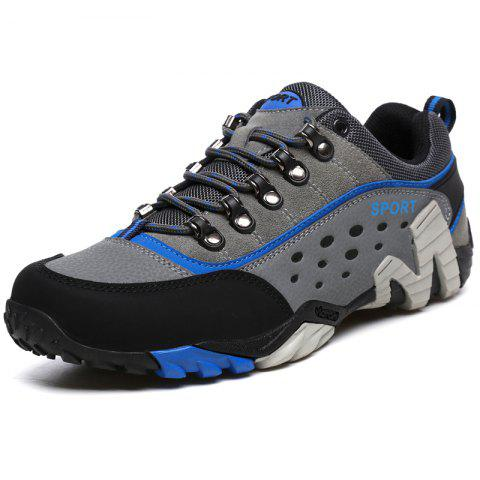 Men Suede Lace Up Casual Athletic Sports Shoes Sneakers - GRAY EU 42