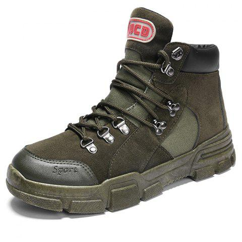 Outdoor Stylish Lace-up Anti-slip Boots for Men - ARMY GREEN EU 40