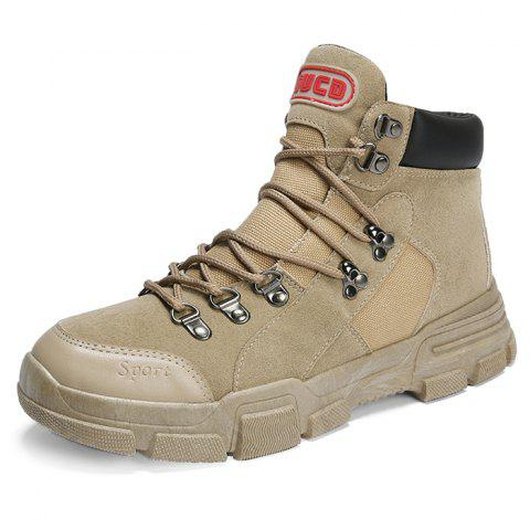 Outdoor Stylish Lace-up Anti-slip Boots for Men - LIGHT KHAKI EU 41