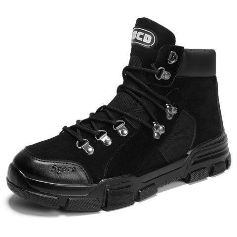 Outdoor Stylish Lace-up Anti-slip Boots for Men - BLACK EU 43