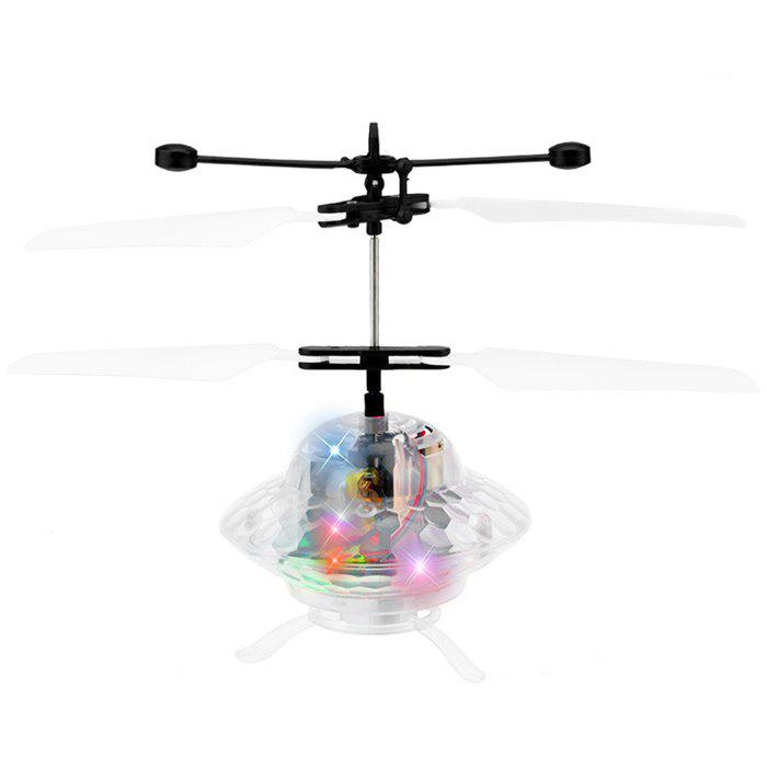 Induction Flying Saucer UFO Aircraft with Light Intelligent Crystal Ball Toy - TRANSPARENT