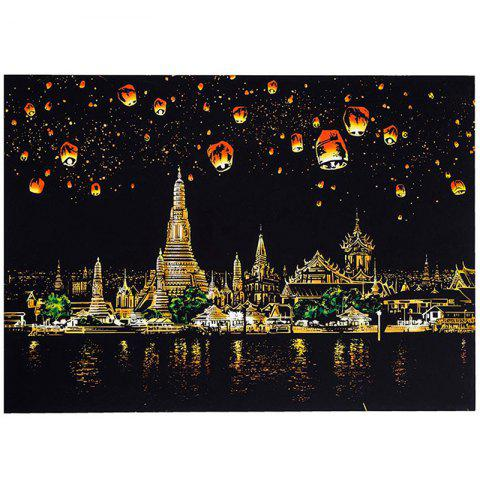 Creative DIY Scratch Bright City Night View Scraping Painting World Sightseeing Picture Toy Gift - multicolor B