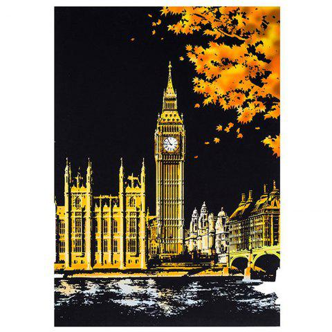 Creative DIY Scratch Bright City Night View Scraping Painting World Sightseeing Picture Toy Gift - multicolor I