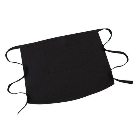 Durable Wear-resistant Half-waist Apron with Pocket for Restaurant Kitchen Staff - BLACK