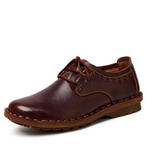Stylish Durable Casual Leather Shoes - DEEP BROWN EU 41
