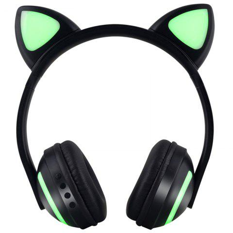 ZW19 Cat Ear Shaped Luminescent Bluetooth Headset Wireless Over-ear Headphone with Microphone - BLACK